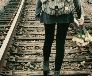 girl, flowers, and hipster image