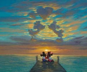 love, disney, and sunset image