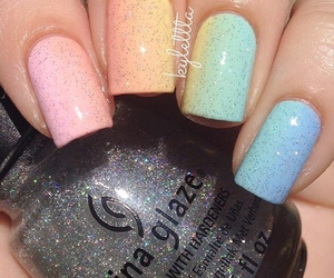 nails, pretty, and rainbow image