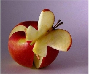 apple, butterfly, and food image