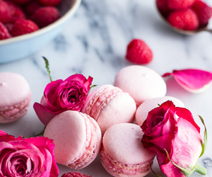 pink, rose, and food image