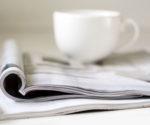 magazine, cup, and coffee image