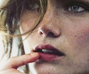freckles, model, and lips image