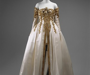 dress, gold, and white image
