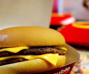cheeseburger, fast food, and fries image