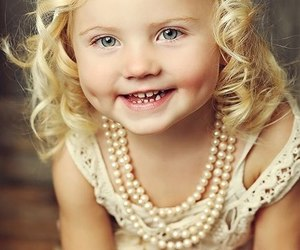 girl, pearls, and smile image