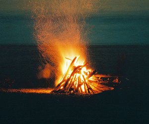 fire, beach, and night image