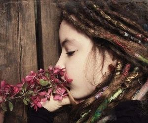 flowers, dreads, and hippie image