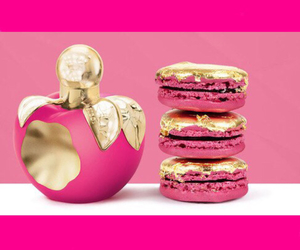 pink, gold, and macaroons image