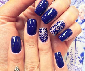 blue nails, nails, and tumblr image