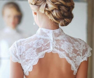 hair, wedding, and dress image