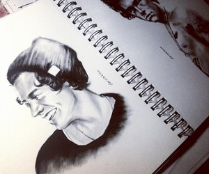 black and white, drawing, and Harry Styles image
