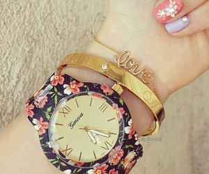 bracelet, flowers, and watch image