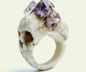 ring, skull, and crystal image