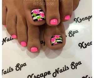 floral, nails, and pink image