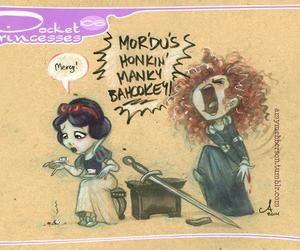 merida, snow white, and pocket princesses image