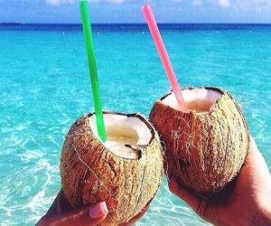 summer, coconut, and beach image
