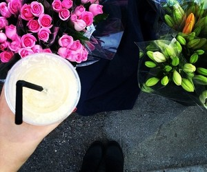 flowers, drink, and rose image