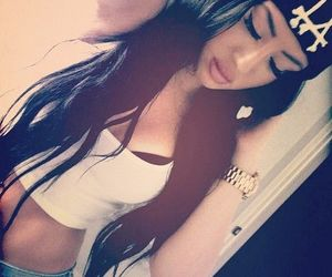 brunette, beanie, and beauty image