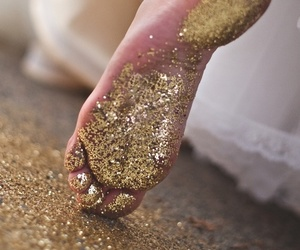 gold, feet, and glitter image