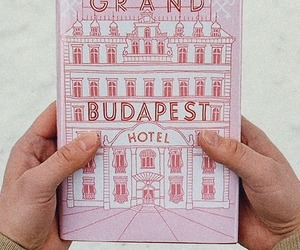 the grand budapest hotel, book, and pink image