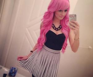 pink hair, dress, and girl image
