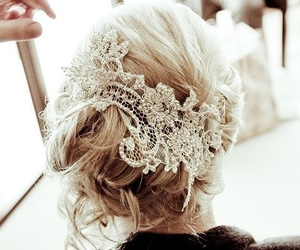 hair, hairstyle, and lace image