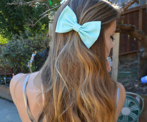 blue, bow, and hair image