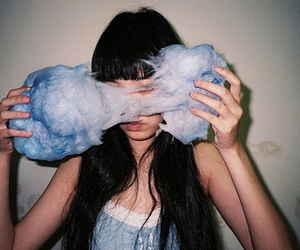 girl, blue, and cotton candy image