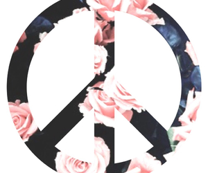 flowers, heart, and peace image