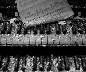 abandoned, black and white, and instrument image
