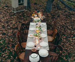 autumn, leaves, and dinner image