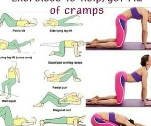 cramps, exercise, and girl image
