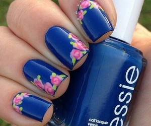 blue, flower, and nails image