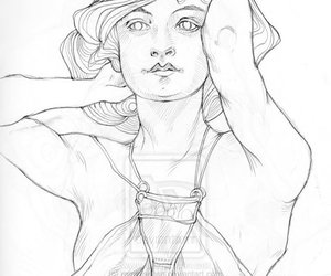 alphonse mucha and pencil sketch image