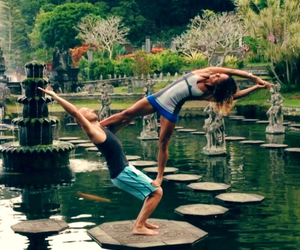 yoga girl, fit together, and flexible girl image