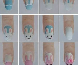 nails, bunny, and nail art image