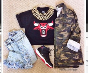 fashion, chicago bulls, and outfit image