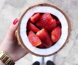 coconut, food, and strawberries image
