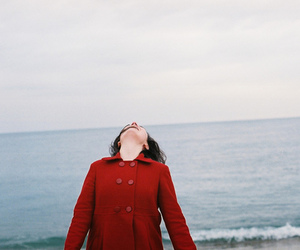 girl, red, and sea image