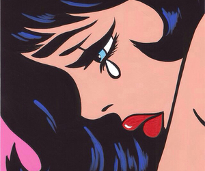 pop art, cry, and lips image