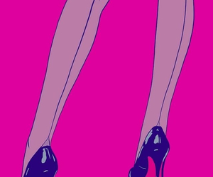 pink, art, and heels image