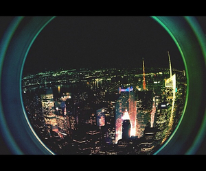 city lights, empire state, and manhattan image