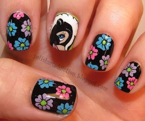 nails, flowers, and bambi image