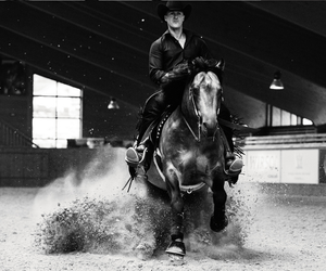 arena, black and white, and cowboy image
