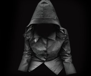 black and white, empty, and hooded image