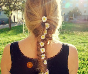 braid, girl, and flowers image