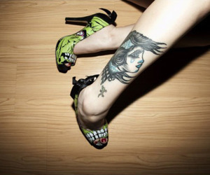 tattoo, girl, and shoes image