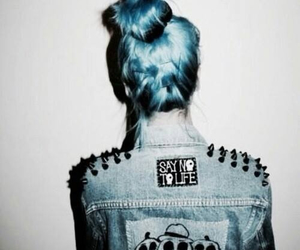 blue, blue hair, and coat image