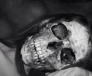 black&white, Darkness, and skull image